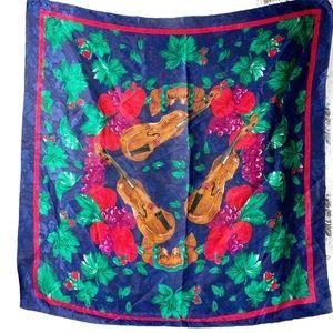 VTG Honey violins and fruit scarf hand rolled hem